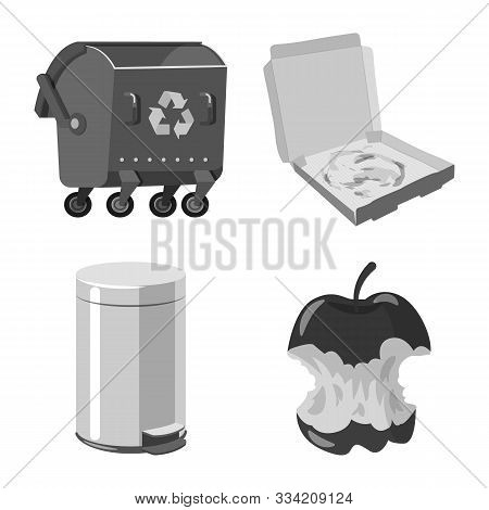 Vector Design Of Dump And Sort Sign. Collection Of Dump And Junk Stock Vector Illustration.