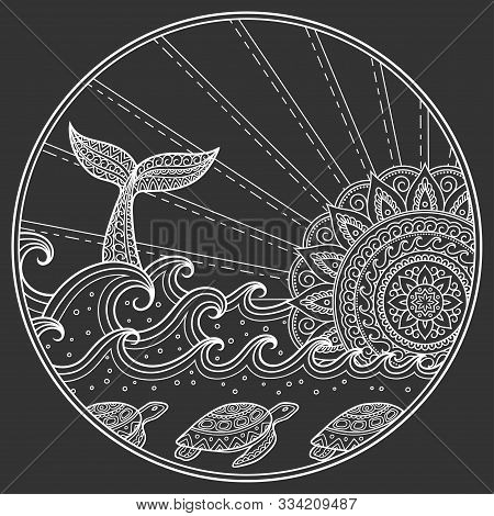 Seascape In A Round Frame White Color On A Dark Background - Whale Diving Into Sea Against The Sunse