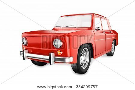 Old Red Car Isolated On The White Background. No Brand Vehicle. 3d Render Illustration.
