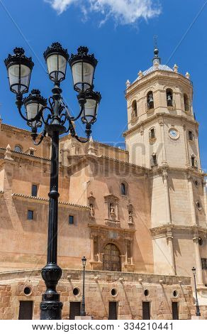 Street Light And Tower Of The San Patricio Church In Lorca, Spain