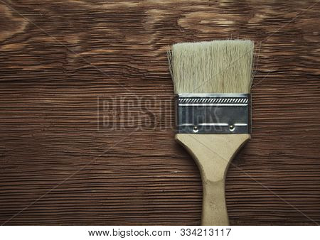 Big Brush On A Wooden Background Brown Photo