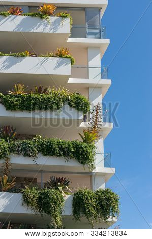 Tall White Building With Fresh Green Plants Hanging From The Balconies. Sustainable Garden Design In