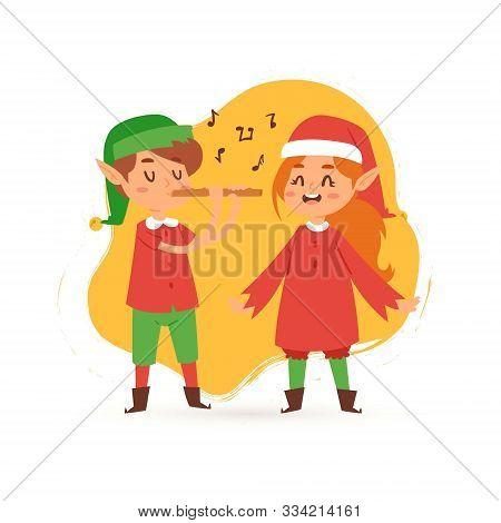 Christmas Elves Kids Singing Caroling Cartoon Vector Illustration. Boy And Girl In Elf Costumes Sing