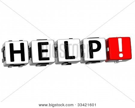 3D Help Button Click Here Block Text