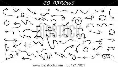 Arrows Big Black Set Icons. Arrow Icon. Arrow Vector Collection. Arrow. Cursor. Doodle Drawing Hand