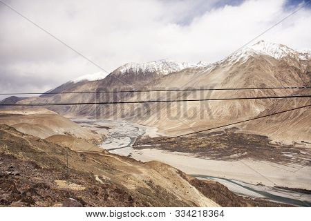 View Landscape At Viewpoint Mountains Range With Nubra River When Evaporated Dry Between Diskit Turt