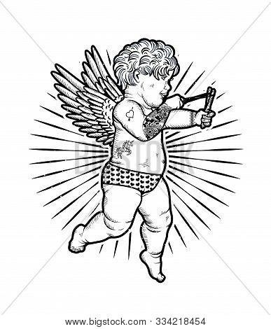Cupid With Slingshot. Vector Illustration. Valentine S Day.