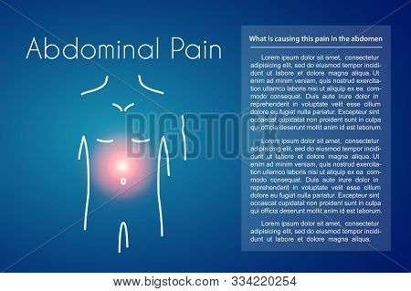 Abdominal Pain Linear Icon On Blue Background. Vector Illustration Of Young Man With Red Spot On His