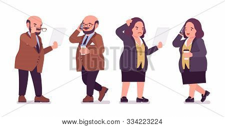 Chubby Heavy Man And Curvy Woman Busy At Paper Work. Overweight And Fat Body Shape, Round Kind Civil