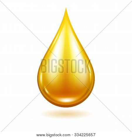 Oil, Honey Or Paint Drop Vector Illustration. Yellow Liquid Droplet.
