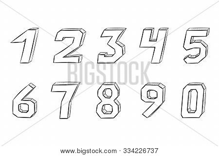 Numbers. Hand Drawn Sketch. Vector Illustration Isolated On White Background