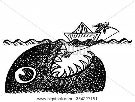 Freehand Drawing Of Businessman In Paper Boat Pulling A Small Fish On His Fishing Line, Unaware Of A