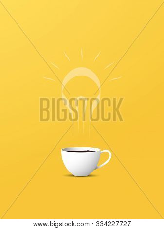Creativity Motivational Poster With Coffee Cup And Lightbulb Steam Vector Concept. Yellow Background