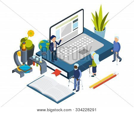 Accesible Education. Online Courses For Elderly. Isometric Old People, Online Education Vector Conce