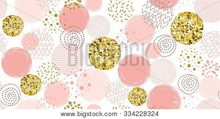 Pink Polka Dot Pattern Seamless Dotted Pattern With Pink Glitter Gold Circles Vector Pink Background