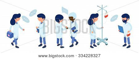 Doctors Staff. Medical Team Communication. Isometric Doctor Characters Vector Illustration. Hospital