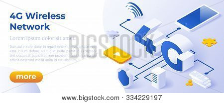 4g Network Wireless Technology Vector Illustration. Isometric Big Letters 4g And Digital Devices. Hi