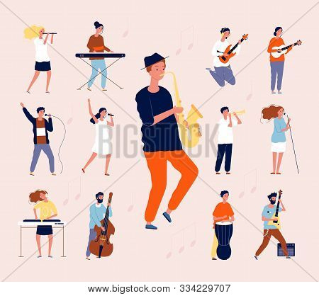 Music Persons. Rock Classical Musical Performing Musicians Singing And Playing Orchestra Instruments