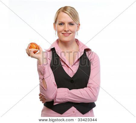 Woman Employee Holding Apple
