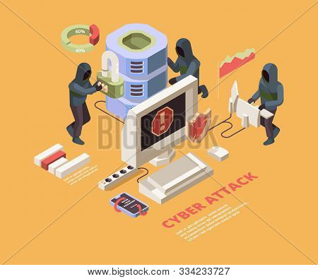 Hacking Attack. Computer Viruses Or Phishing Pages Cyber Data Protection Vector Isometric Concept. I