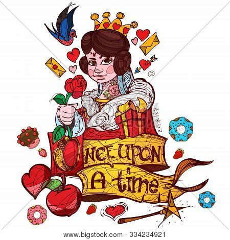 Queen Of Hearts Playing Card Suit. Vector Illustration Isolated On White Background.