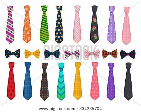 Tie Collection. Men Suits Accessories Bows And Ties Fashioned Vector Illustrations. Necktie Accessor