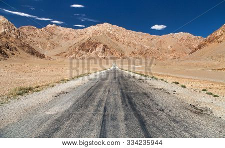 Pamir Highway Or Pamirskij Trakt. Landscape Around Pamir Highway M41 International Road, Mountains I