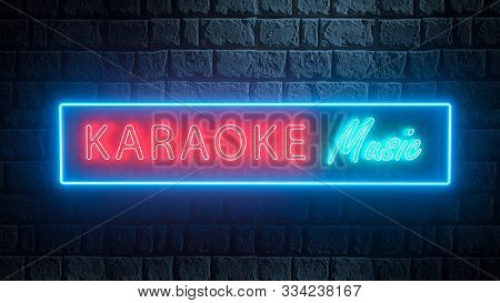3d Karaoke Music Neon Sign For Music Bars, Karaoke, Night Clubs. Live Music. Illuminated Karaoke Sig
