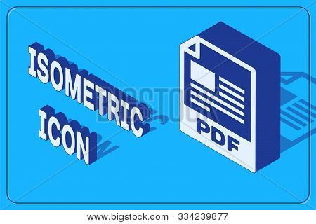 Isometric Pdf File Document. Download Pdf Button Icon Isolated On Blue Background. Pdf File Symbol.