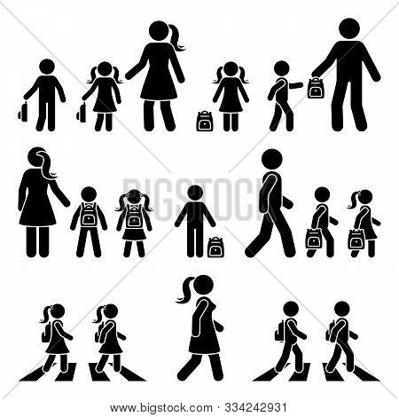 Stick Figure Walking Kids With Parents And Backpack Vector Icon Pictogram. Boy And Girl On Crosswalk
