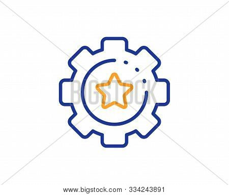 Cogwheel With Star Sign. Settings Gear Line Icon. Working Process Symbol. Colorful Outline Concept.