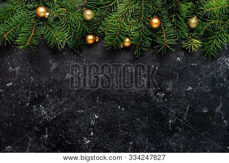 Christmas Or New Year Decoration On Black Background