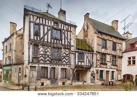 Historical Square With Half-timbered Houses In Noyers (noyers-sur-serein), Yonne, France