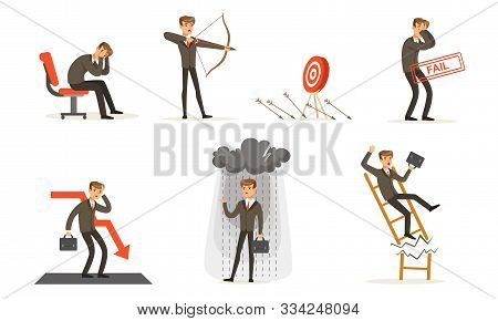 Unsuccessful Businessman In Suit And Failures In Work Vector Illustration Set Isolated On White Back