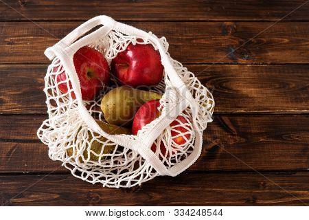 Zero Waste Concept. Fruits In A Net Bag