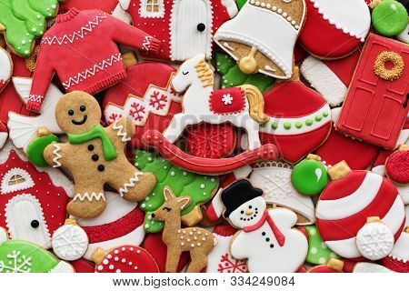 Assortment of decorated Christmas cookies