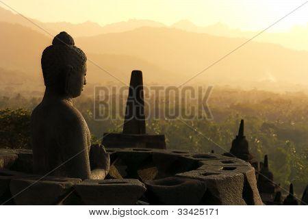Buddha Statue In Borobudur, Java, Indonesia