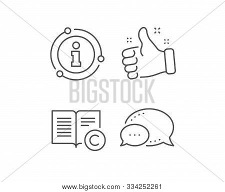 Copyright Line Icon. Chat Bubble, Info Sign Elements. Copywriting Or Book Sign. Feedback Symbol. Lin