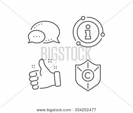 Copyright Protection Line Icon. Chat Bubble, Info Sign Elements. Copywriting Sign. Shield Symbol. Li