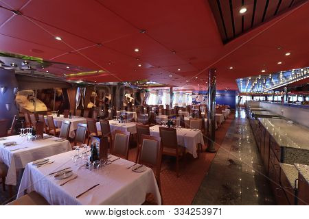Marseille, France - September, 25th 2019: Costa Magica Cruise Ship, Costa Smeralda Dining Room