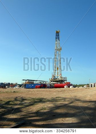 Land drilling rig partaking in drilling operations in Tanzania.