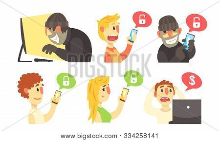 Scammers Hack Computers And Phones To Steal Personal Data And Money, Cyber Crimes Vector Illustratio
