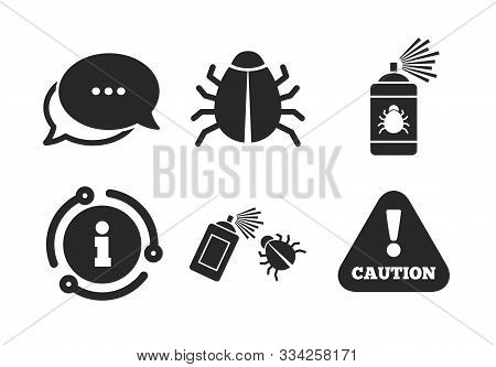 Caution Attention Symbol. Chat, Info Sign. Bug Disinfection Icons. Insect Fumigation Spray Sign. Cla