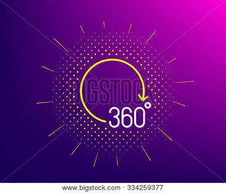 360 Degrees Line Icon. Halftone Pattern. Vr Simulation Sign. Panoramic View Symbol. Gradient Backgro
