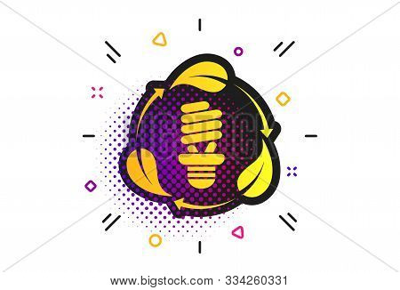 Fluorescent Lamp Bulb With Leaves Sign Icon. Halftone Dots Pattern. Energy Saving. Economy Symbol. C