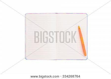 Blank Open Notebook On White Background With Clipping Path .top View Of An Open Empty Notebook Wtih