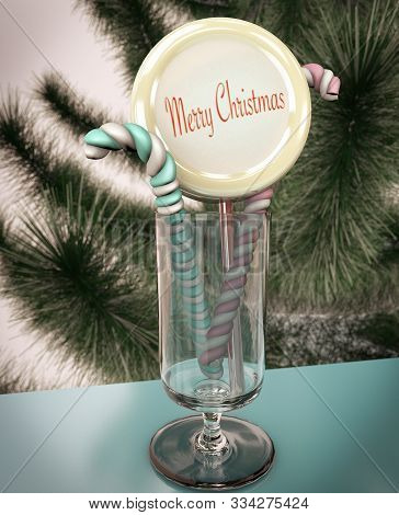 3d Illustration Of Christmas Tree Candy Stick Marshmellow Close Up On Green Tree Background And Wine