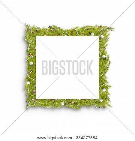 Decorative Christmas Square Frame Mock Up Isolated, 3d Rendering. Empty Decor Framing For New Year C