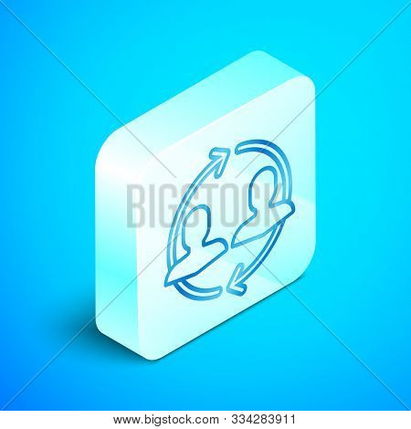 Isometric Line Human Resources Icon Isolated On Blue Background. Concept Of Human Resources Manageme
