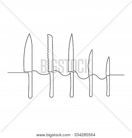 Continuous One Line Set Of Different Knives. Bread Knife, For Shredding, Etc. Vector Stock Illustrat